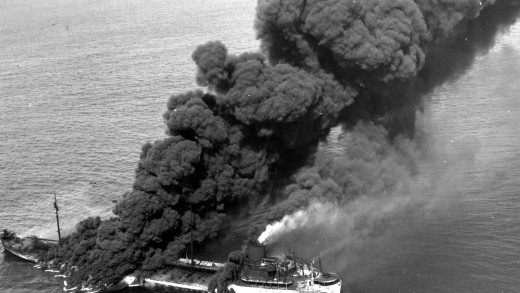 A burning merchant ship during the Battle of the Atlantic.
