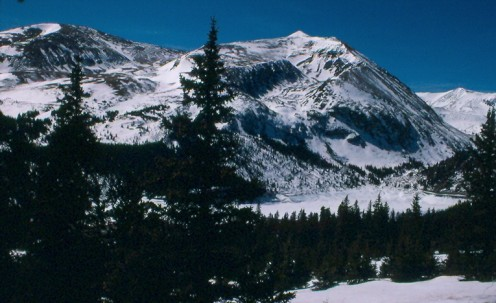 Mount Bross (L) and Mount Lincoln (R) from Hoosier Pass.