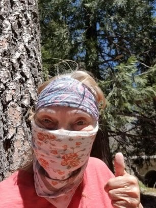 Author, Audrey Hunt doing what is necessary to protect herself during the Covid-19 virus.
