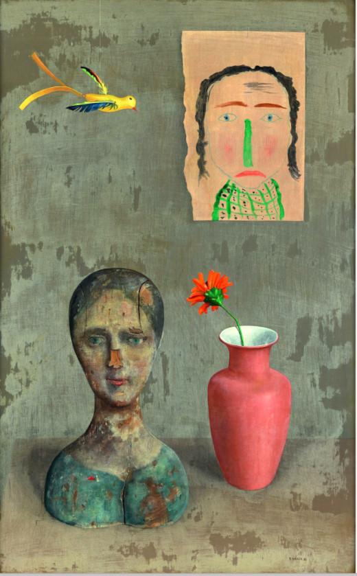 """Two Heads"", a painting by Austrian artist Rudolf Wacker (1932)"