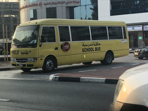 Even their school buses are yellow. Must be a global thing. :)
