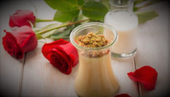 Rose Cream in Cooking With Pistachio Crumble