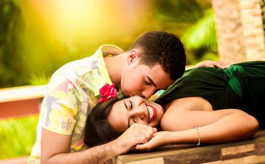 Couple having romantic commucication