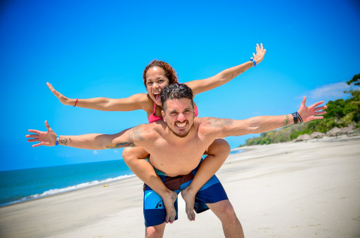 Emotionally connected couple on vacation