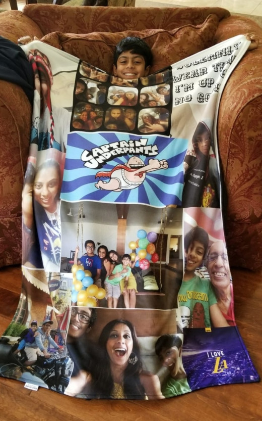 My Little Cousin with his Photo Blanket