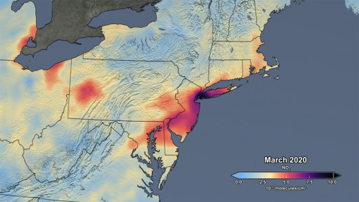 Pollution Northeast US, March 2020