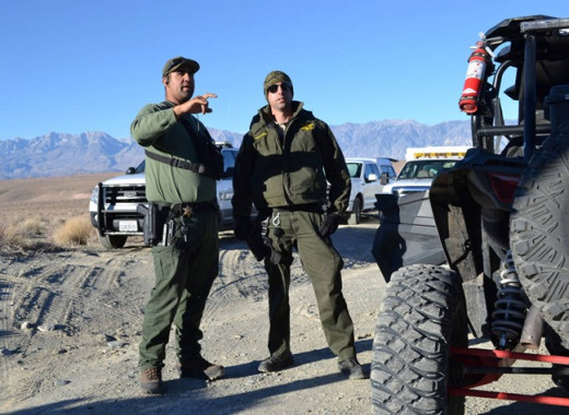 Search parties conduct grid searches of the high desert near Karli Guse's home in Chalfant Valley, California.