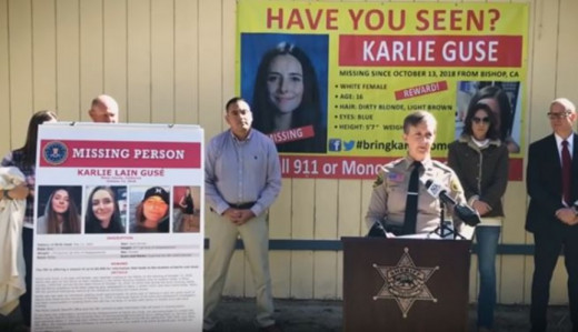 Mono County Sheriff's Office during a press conference about Karlie's disappearance.