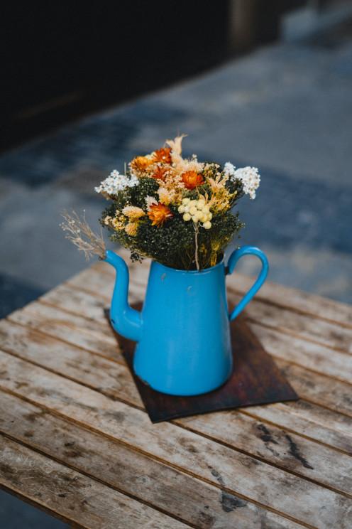Flowers in watering pot