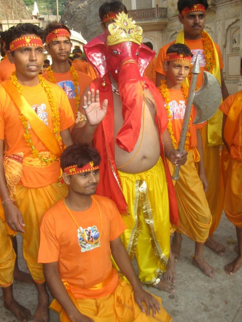 Male Dressed as Ganesha with some other people: Uncommon Dresses Jaipur 4