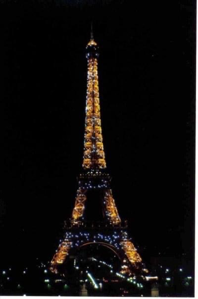 Eiffel Tower sparkles on the hour each hour at night
