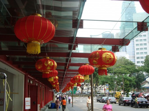 Chinese lanterns decorating the temple