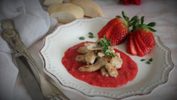 Veal Strips With Strawberry Sauce, a Single Dish