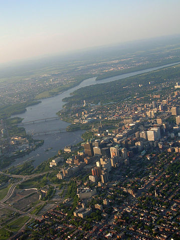 Downtown Ottawa, parts of Gatineau, Quebec and the Ottawa River, as viewed from a hot air balloon.