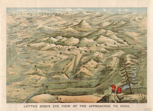 Afghanistan portrayed from the perspective of British India.