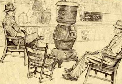 One of the best past-times in America was sitting around a warm pot-bellied stove.