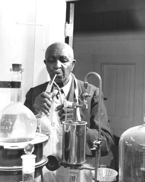 Carver at work in his laboratory.