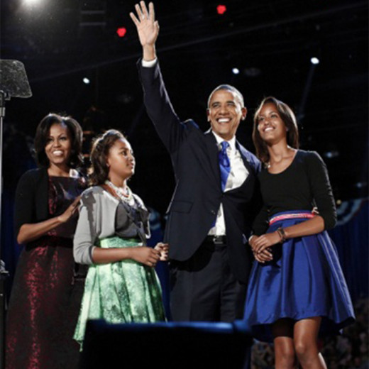 Moments of celebration and triumph for the Obama family and his supporters who they are acknowledging in this photo...