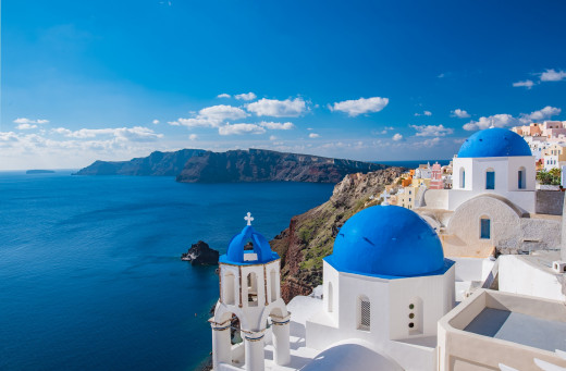 Popular blue-domed church in Santorini, Greece