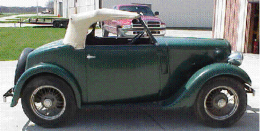 """Austin 7 Roadster  Owned by Hugh Goetz   Hugh sent me these photos,  with a message saying   """"This is a USA car'  I do not have any knowledge of differences between UK and USA models."""""""