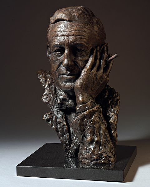 Ian Fleming bronze bust developed by British sculptor, Anthony Smith.