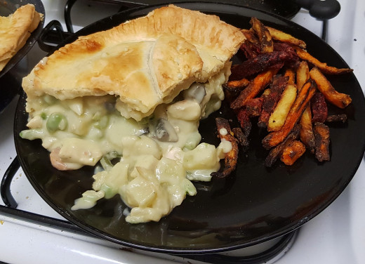 Day 15 - Dinner - Homemade chicken and vegetable pie, with root veg chips