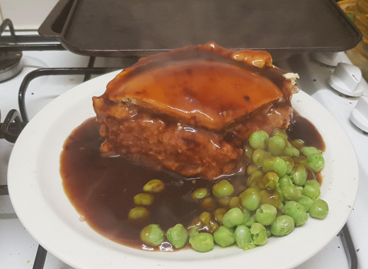 Day 26 - Dinner - Homemade corned beef and potato pie with peas and gravy
