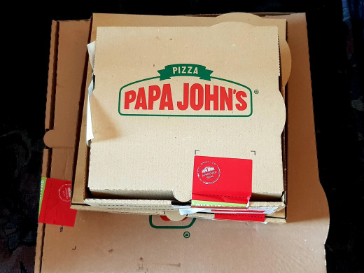Day 44 - Dinner - Takeaway - Papa Johns pizza. Half 'The Works', half 'Garden Party'. With garlic pizza bread, cheesy jalapeno bites, and cinnamon scrolls for dessert.
