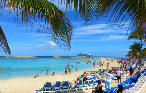 A beach at Great Stirrup Cay, Norwegian Sky in the background