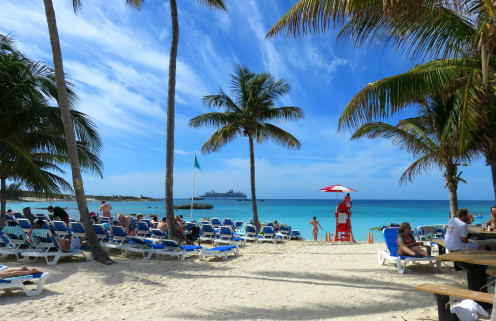 Beach and palm trees on Great Stirrup Cay, Bahamas