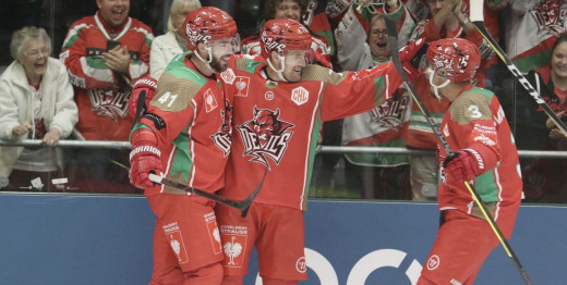 Batch, Linglet and McMonagle celebrate after scoring in last season's CHL.
