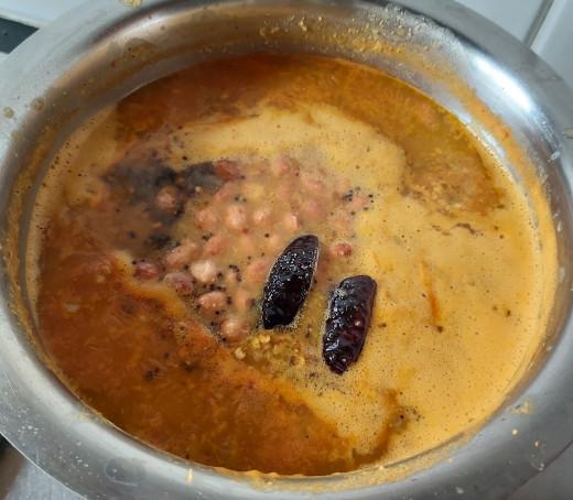 Add this seasoning to prepared kootu.