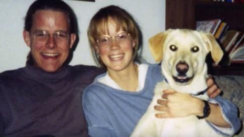 Steve and Amy Bechtel with their dog Jonz.