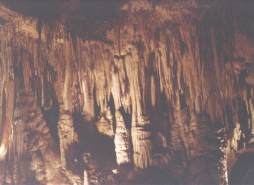 A stalactite and a stalagmite almost forming a column.  Luray Caverns, VA