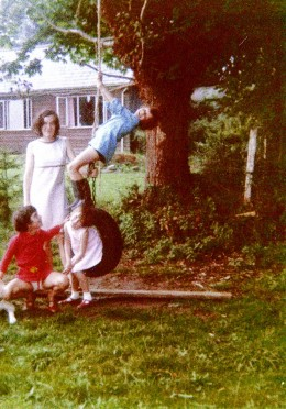 The tree swing at Melcum, Lower Road, South Wonston. Daughters Ingrid & Vikki.  Sis Carrie, and friend Francoise.  About 1972
