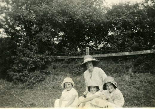 Nanny Pratten with my Mum, and my Auntie Mabel and Auntie Marg.  At a friends wedding in Sutton Scotney.  Circa approx 1933