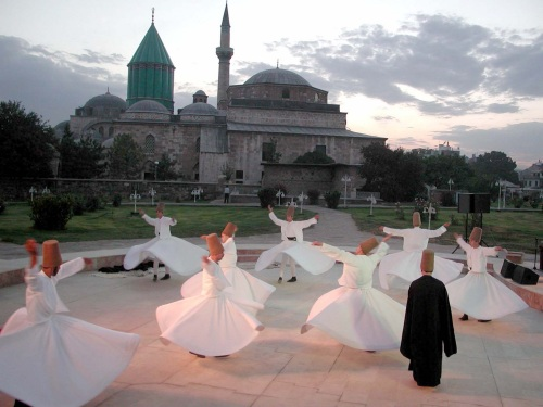 Whirling dervishes from the Sufi denomination of Islam. They take vows of poverty and humility, dedicating their lives to good deeds.