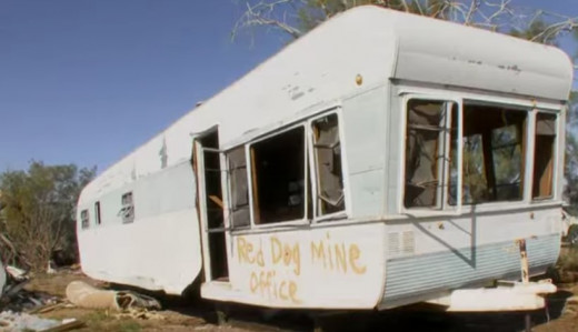 Trailer owned by one of Chuck Hollister's friends called the Red Dog Mine, in Ludlow California.