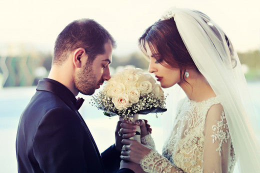 Couple getting ready to be joined together