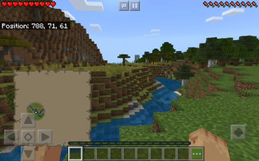 Screenshot of village in distance not to far from spawn and the Pillager Outpost.