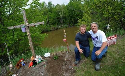 Guy Brickley and his son now tend to the place where Nevaeh's body was found.