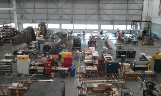 "The B-26 Marauder ""Flack Bait"" under restoration at the Udvar-Hazy Center, June 2019."