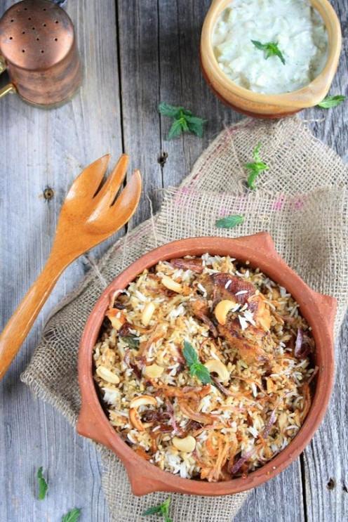 South Indian Spicy Chicken Dum Biryani with yummy Raita