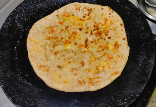 Oil applied on the paratha