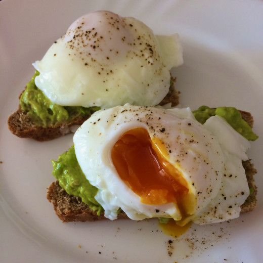 Poached Eggs and Avocado on Brown Bread