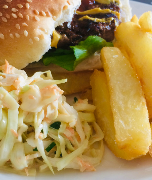 Beef Burger and Fries and Coleslaw...