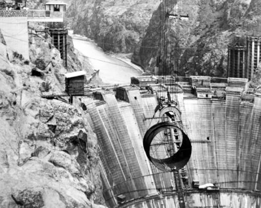 Hoover Dam under construction circa 1934.