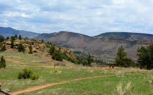 Bench with a view in Boulder County, Colorado.