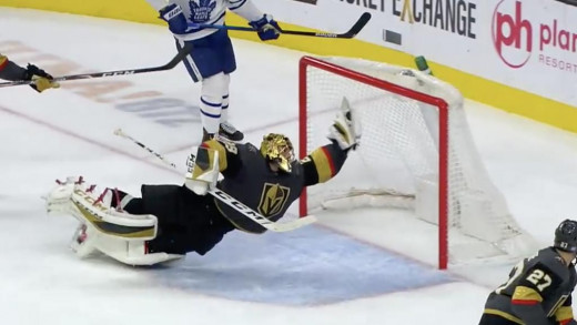 Diving save by Marc Andre Fleury against the Toronto maple leafs