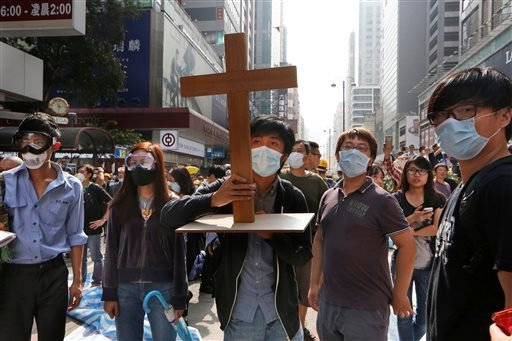 Christian protesters in Hong Kong.